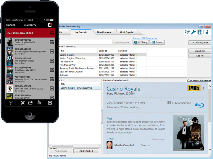 Collectorz com barcode scanner app for iPhone and Android